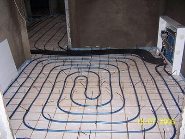 схема отопления теплый пол и батареи.